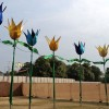 Giant flowers in a row